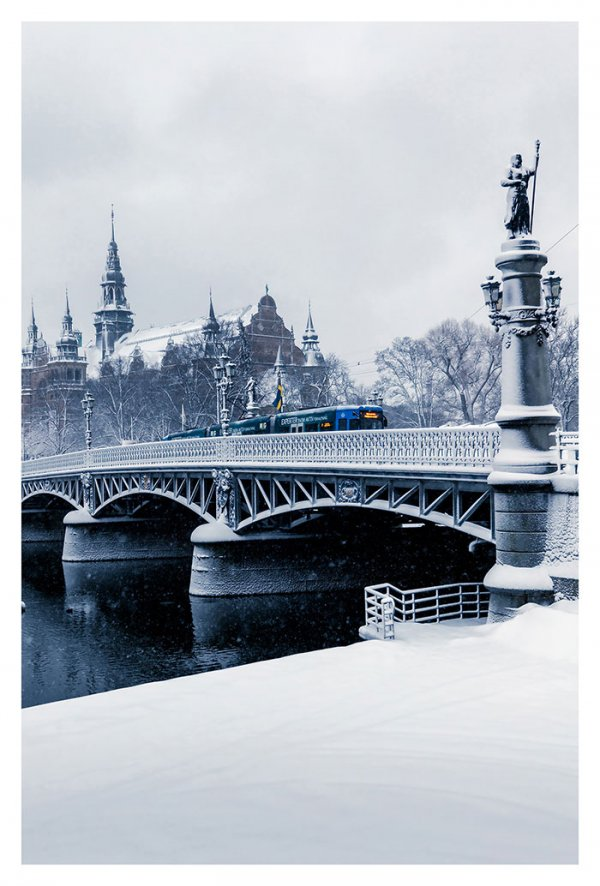 Djurgården Bridge in Snowy Februari